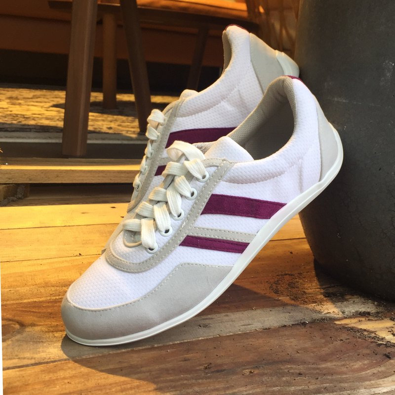 Simple design casual shoes | Handmade | Pure white with purple