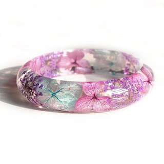 FlowerSays / Hydrangea QueenAnne'sLace Real Flower Bracelet / Purple Collection