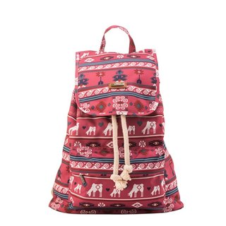 SOLUNA [ Folk style Series ] Drawstring Backpack(Pink Trojan)