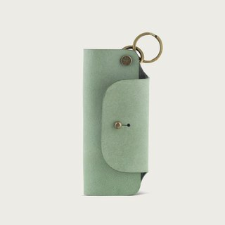 Leather key bag / key ring - mint green
