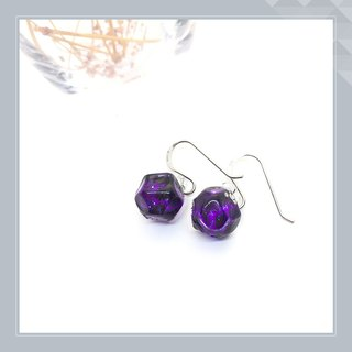 Earrings purple glass polygon power color for luck as birthdays.