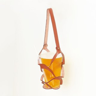 SOLAR Solar Drink Bag - Light Brown - Beverage Bag / Beer / Microfiber / Leather / Fashion / Environmental
