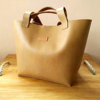 Handmade Nubuck Leather Tote Bag Beige Color (Personalized)
