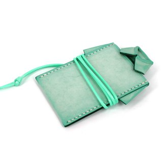 MOOS X WASOME ORIGAMI 鞣 鞣 鞣 leather hand-sewn card holder (mint green)