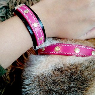 [Handsome] collar handmade leather collars commitment group (S) - and hairy child together promise
