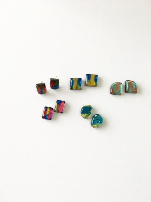 Colorful glass earring