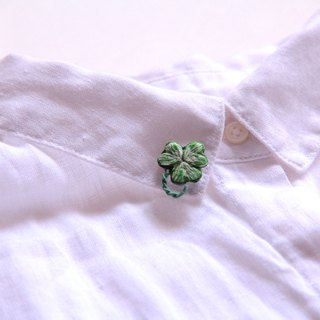 Stamp Series Clover Embroidery Plant Brooch