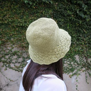 A mother の hand hat / summer summer Lafei straw hat / retro edged fisherman hat / mustard green / Mother's Day