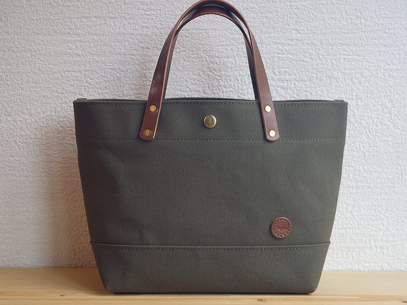 Leather Handle Canvas Tote Bag Olive