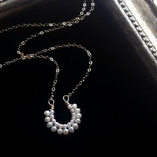 14kgf fresh water keshi pearl and vintage pearl hose shoe necklace/os-05