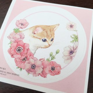 Cat & Flower Round Sticker - Powder