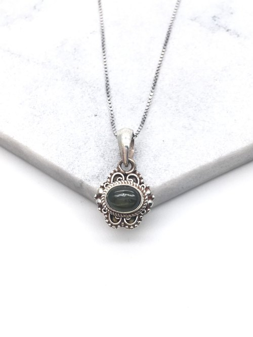 Green Tourmaline 925 Silver Necklace Nepal Handmade Silver Jewelry