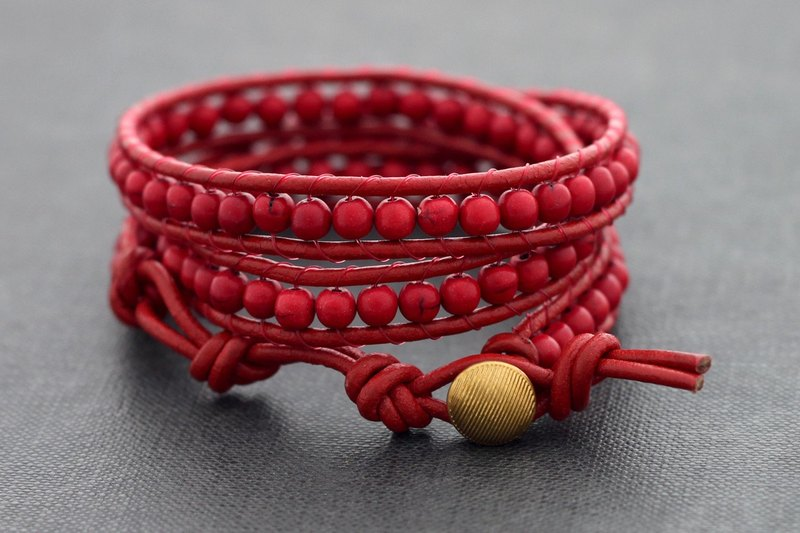 Leather Wrap Bracelets Totally Red Beaded Wrap Bracelet Woven Stone Hipster