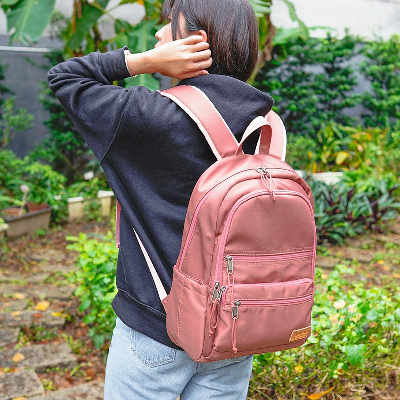 Functional Type Decompression Shockproof 14-inch Laptop Backpack (Rose Gold)