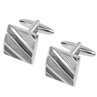 Grey Tonal Diagonal Stripes Cufflinks