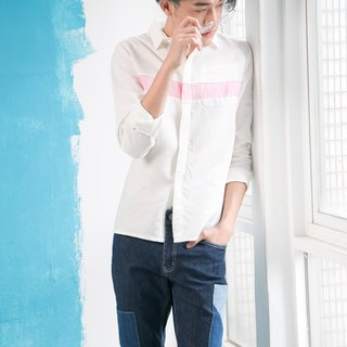 White denim denim shirt (stitched pink)