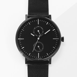 NEW! BLACK MG002 WATCH | MESH BAND+LEATHER BAND