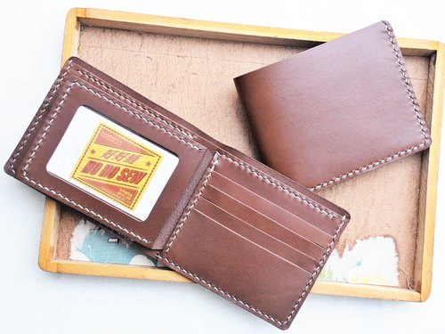 8 inch photo short clip ** two into the group well sew leather bag free lettering hand-made Christmas gift handmade bag couple silver wallet short wallet short money simple and practical Italian leather vegetable tanned leather leather DIY companion slim