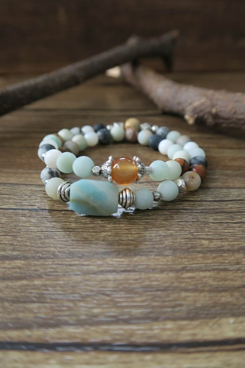 [Spirituality] small hand material Tianhe stone / orange red agate / wood fossil / shellfish / silver silver accessories / beads • double ring bracelet men and women gifts