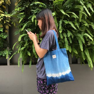 Indigo Hand-dyed Cotton Shopping Bag - 糸 Thread