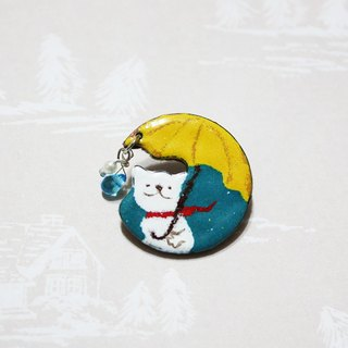 Cat walking in the rain --- enamel pins