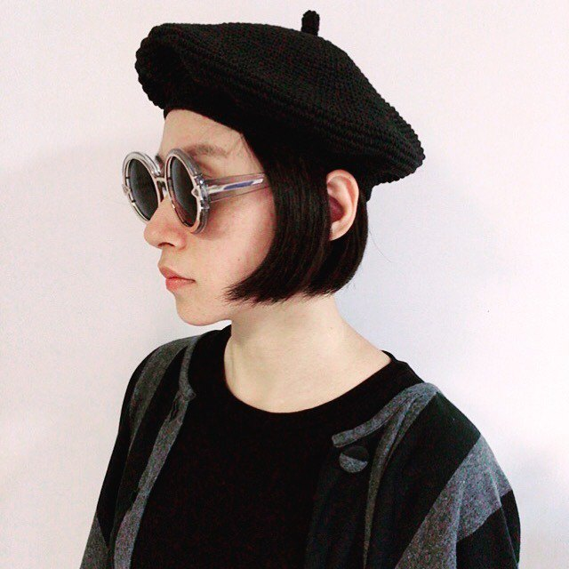 Celeste Celeste hand-woven beret cap original cotton washed old black chokdee-muakdeedee