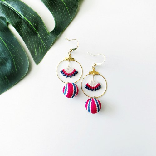 Original handmade thread braid earrings rose red white blue round ball personality lively long earrings