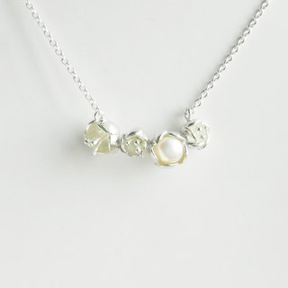Watchman - Almond tree III pearl silver necklace