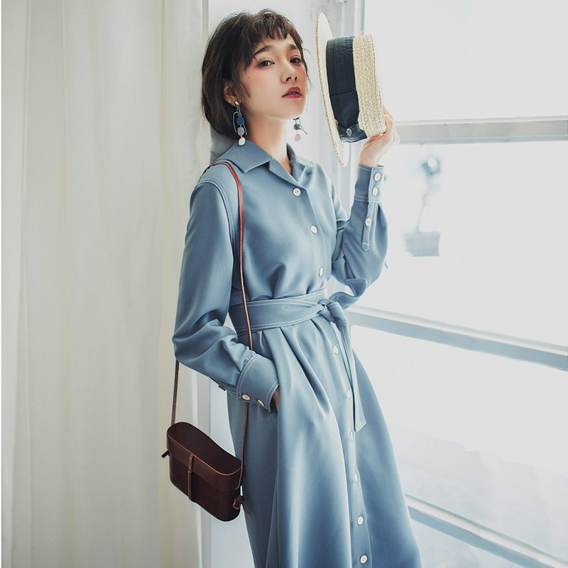 2018 autumn women's new color contrast line shirt dress dress