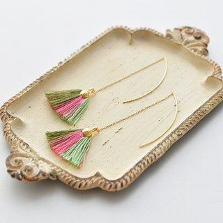 イヤリング/ Tassel earrings shell/ pink