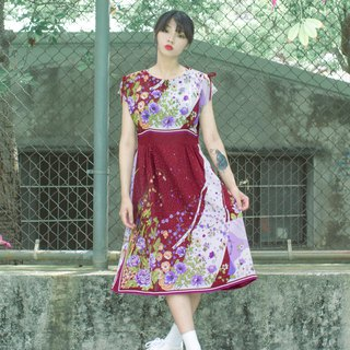 Brick red colorful purple rose half sleeve vintage dress