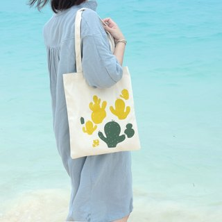 Cactus Garden Hand-printed Canvas Bag L