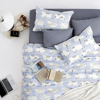 Ba Mei 喵 single double bed / bed bag hand-painted cat 40 cotton bedding pillowcase quilt cover