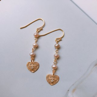 [Love's Heart] Pearl Love Earrings │ Changeable Clip Christmas Gifts