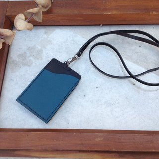 Identification card. Card folder, leisure card sets, hanging neck, hand sewing, leather hand sewn. Turkey blue + black