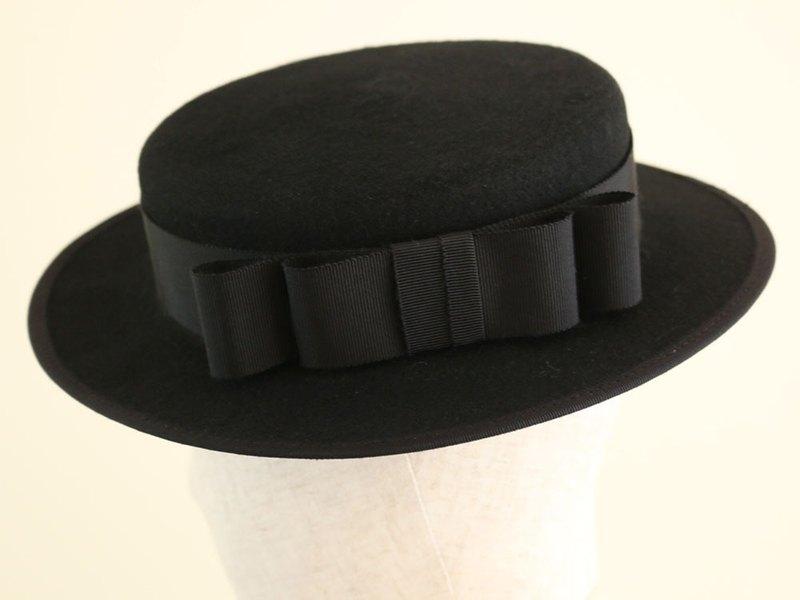 0f89f20a998a53 Black Wool Felt Boater Hat