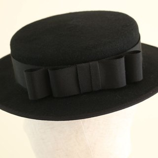 "Black Wool Felt Boater Hat ""Vivien"""