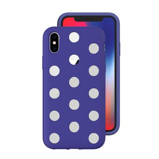 AndMesh-iPhone Xs Dot Double Layer Anti-collision Cover - Indigo (4571384959186