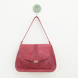 Plum red leather curve ladies bag deep plum red / jujube XL number