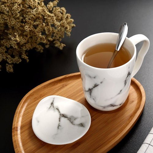 Marble texture mug with cover spoon bamboo tray set