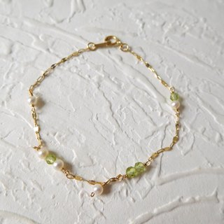 Pure 14.10K Gold Fresh Peridot Mini Round Pearl K Gold Ball Bracelet
