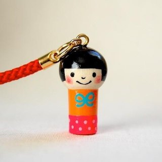 * Mini Kokeshi * strap * light blue ribbon-chan