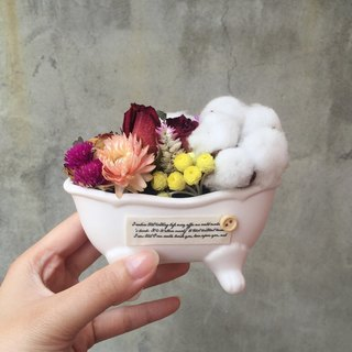 Dried flower bouquet bathtub shape cotton spot