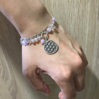 - Lakshmi - the pollen chalcedony of life Zizi Pyrophyll Lavender amethyst Tibetan silver natural stone bracelet design energy healing handmade jewelry love love crystal peach