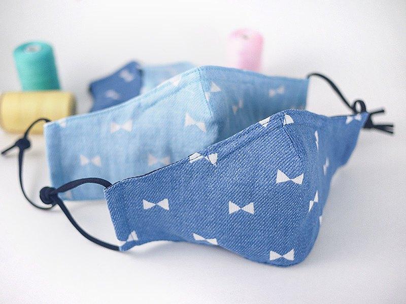 丹寧風蝴蝶結。可塞濾材口罩 鼻樑壓條 二重紗薄棉布 四種尺寸