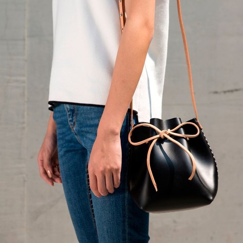 JulyChagall Day Dreams Summer New Vegetable tanned cowhide Sprouts Super small mini bucket bag black