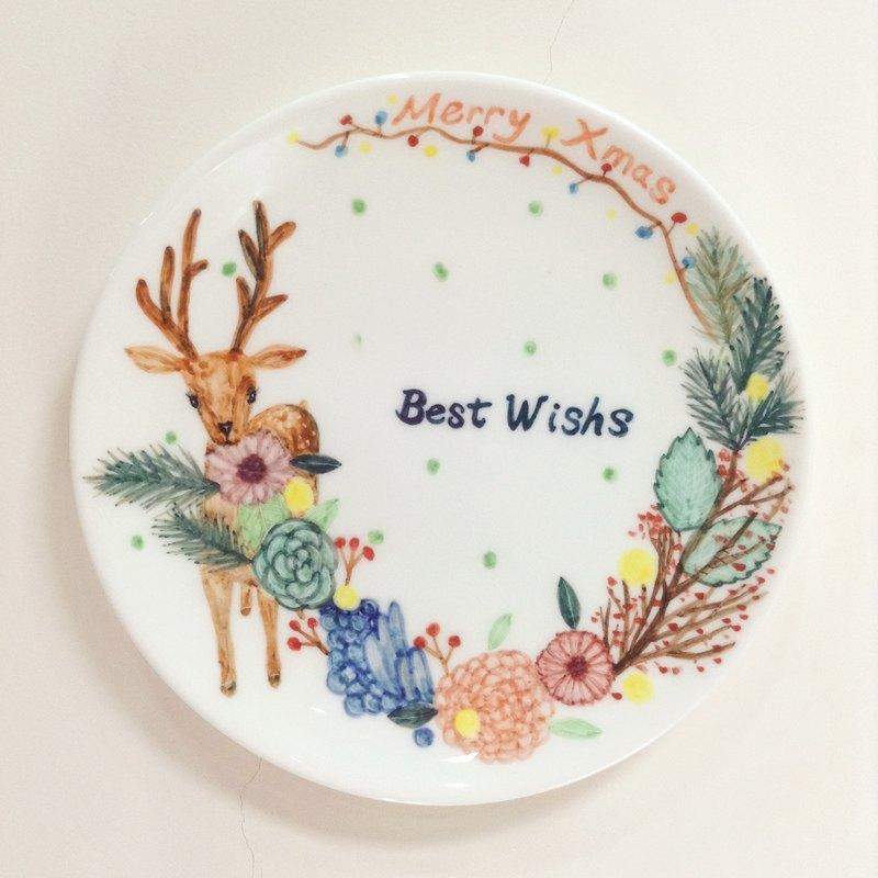 小鹿花圈 -手繪6吋聖誕瓷盤-聖誕節/聖誕禮物/交換禮物-現貨一個