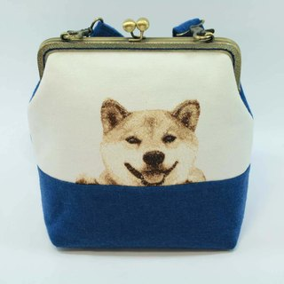 Mo-type mouth gold embroidery 20cm oblique backpack 01-- Shiba Inu