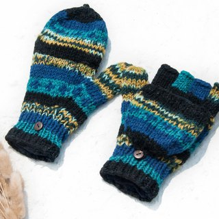 Hand-knitted pure wool knit gloves / detachable gloves / inner bristled gloves / warm gloves - blue starry sky
