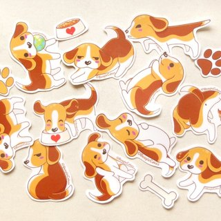 Beagle Stickers - 15 Pieces - Waterproof Stickers - Dog Stickers - Puppy Sticker